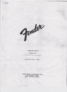 Fender Price List 1986